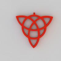 inverted triquetra geometric shape 3d model