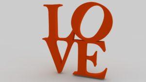 3d printed love sculpture