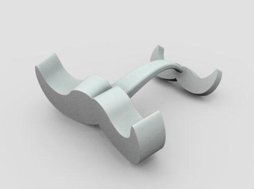 moustache cufflink 3d model