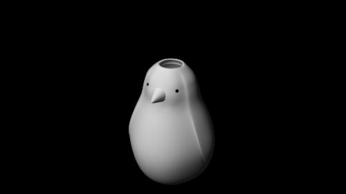 penguin flower pot 3d printer model