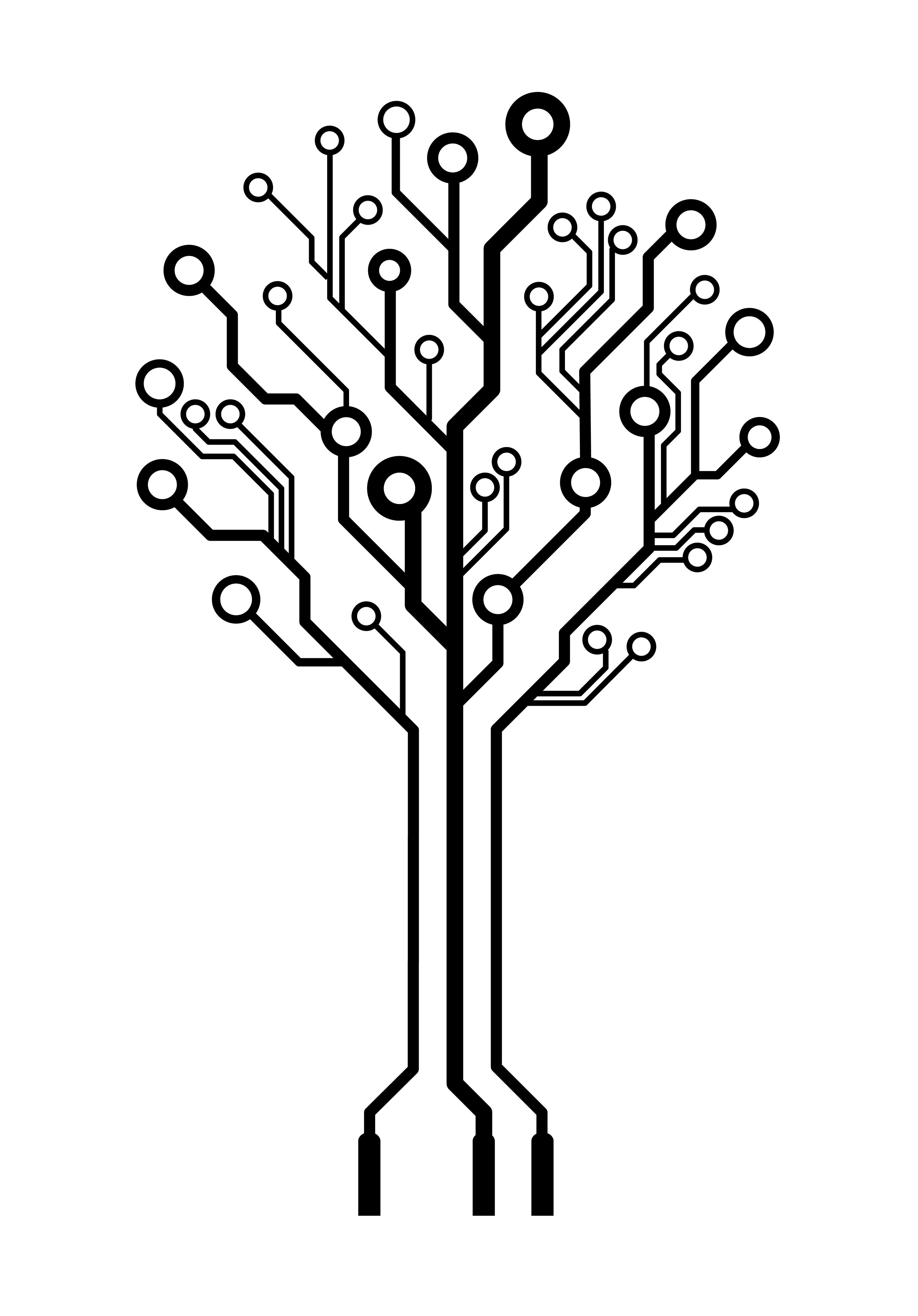 vector logo circuit board tree  u2013 think3d